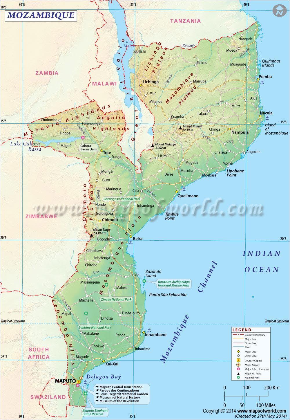 Mozambique Map Mozambique Map Latitude And Longitude Map