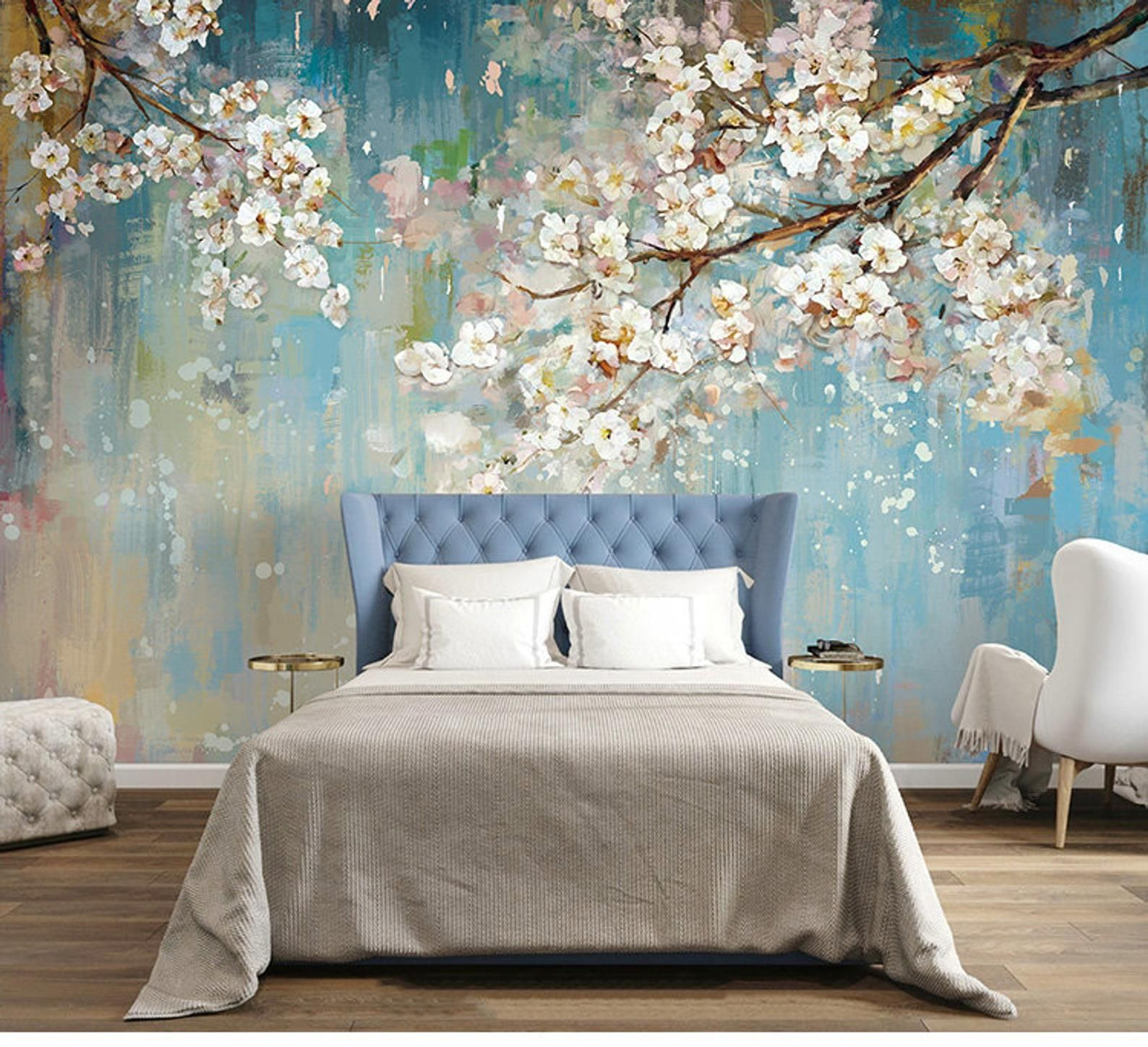 fabulous oil painting wallpaper wall mural sakura tree on wall murals id=23363