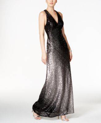 Every moment is magical in an Xscape racerback gown designed to dazzle with scintillating ombre sequins.   Shell and lining: polyester   Professional spot clean   Imported   Hidden back zipper with ho