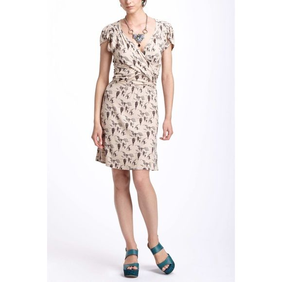"""Anthropologie Up & Away Mini Dress Official Description: Constructed of floaty viscose-crepe, LeifNotes' uber-flattering, wrap-front frock boasts more hot air balloons than the sky has ever hosted (Seller Description: Brand new, never been worn, 36.25""""L) Anthropologie Dresses Mini"""
