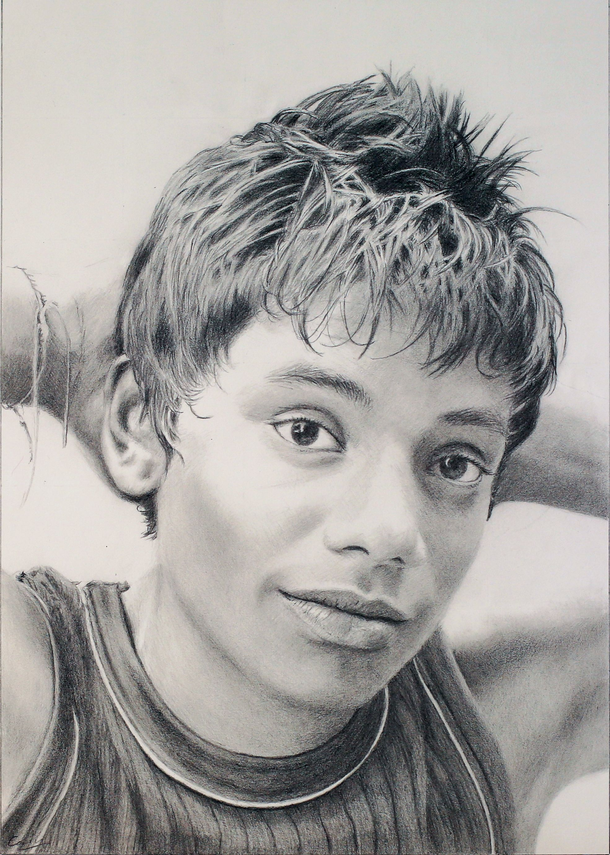 Pencil drawing portrait of a sri lankan boy drawing portraits group art art