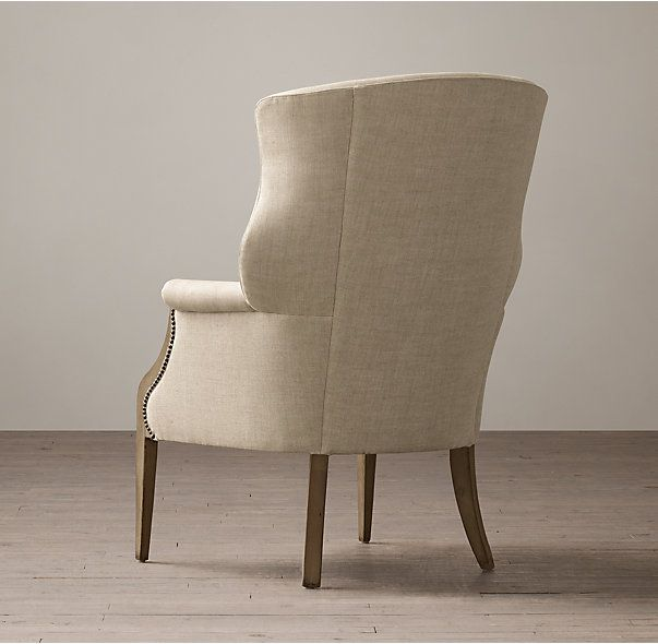 "RH In dark walnut wood frame Belgium linen in flax 34"" w x 36"" d x 44"" ht $1,676 Net Edwardian Upholstered Wing Chair"