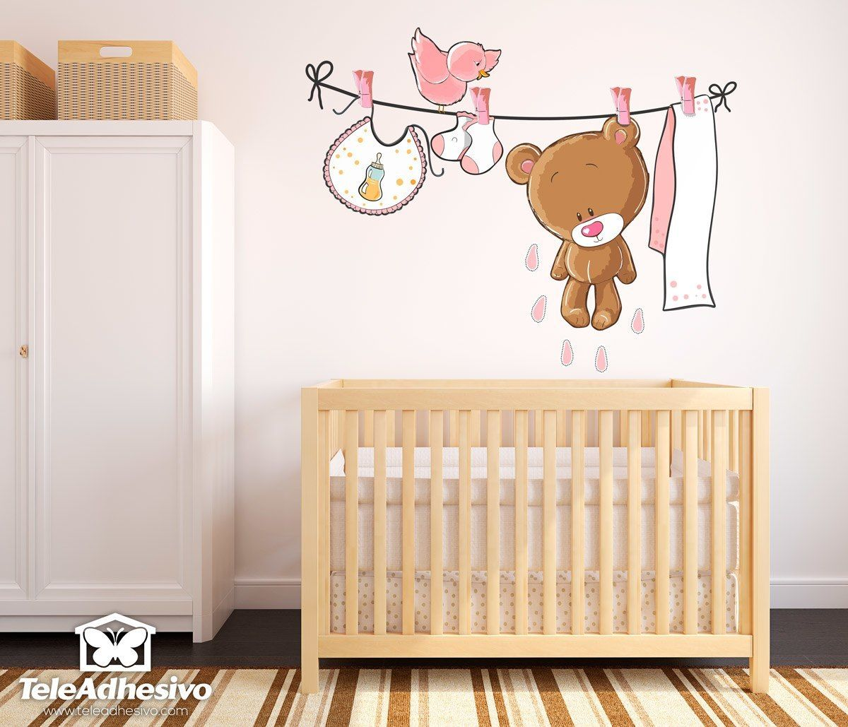The Kids Clothesline Stickers For Kids Bear On The Clothesline Pink  Παιδιά Και Γονείς