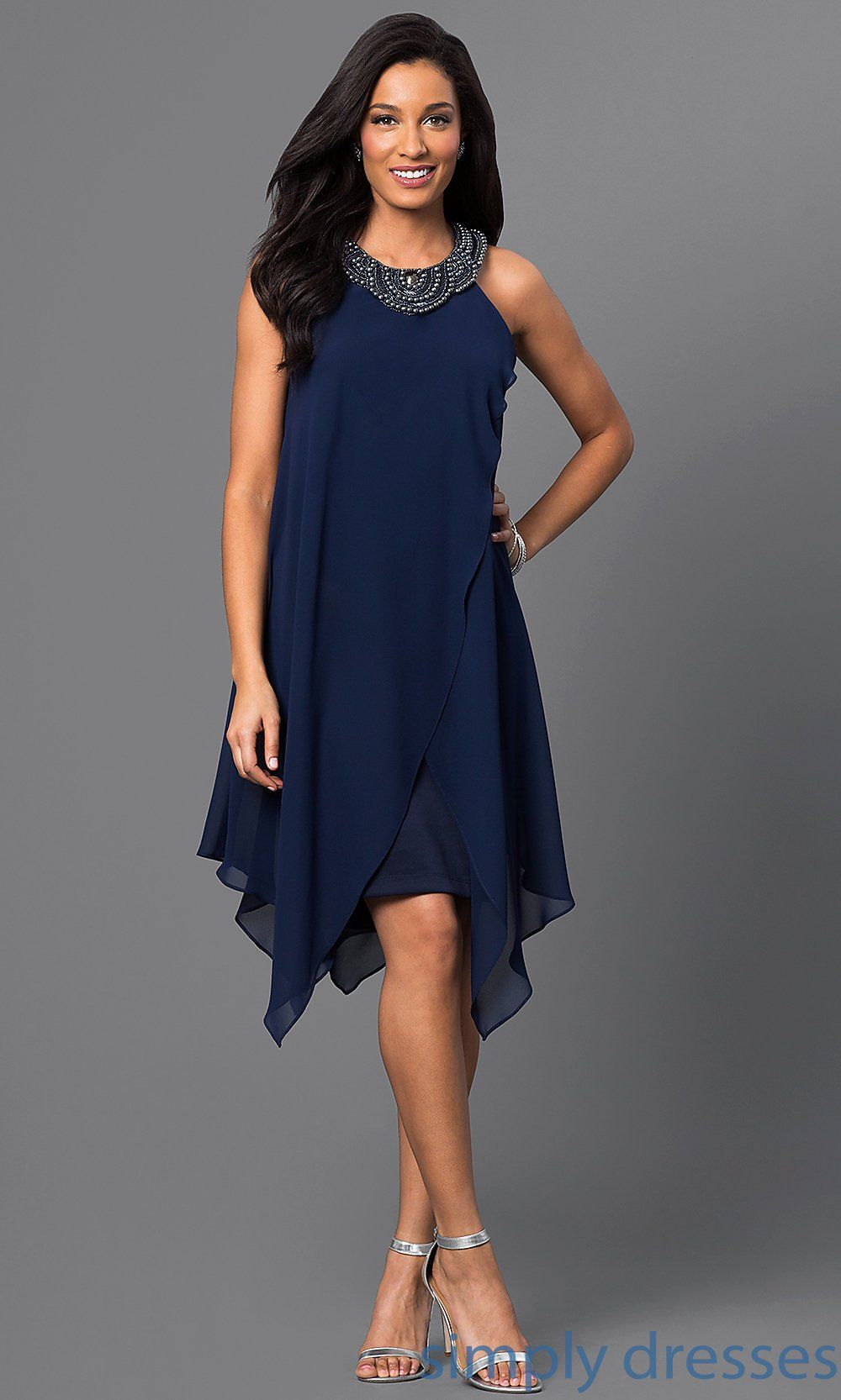 Sleeveless navy blue dress with handkerchiefemi gear u online store
