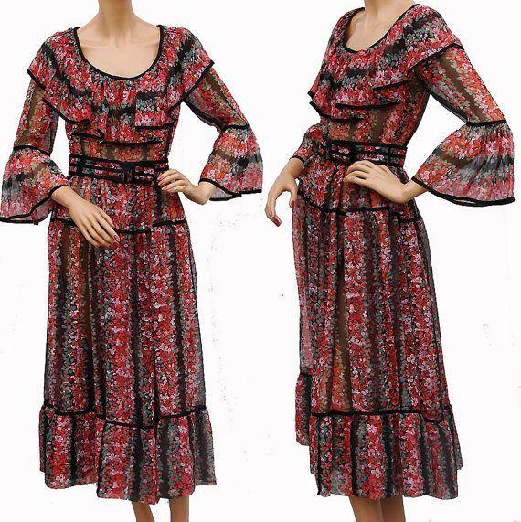 vintage clothing for women 1970s | Vintage 1970s Dress // Sheer ...