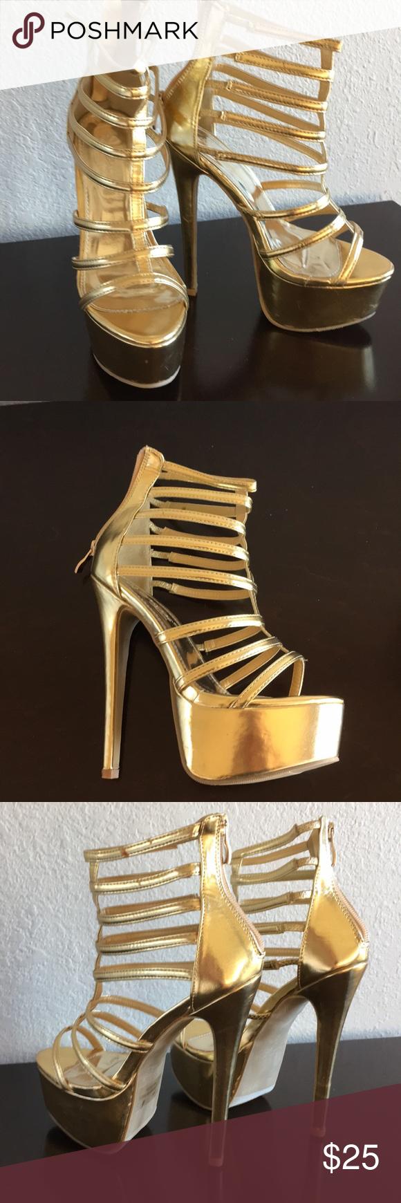 Gold Platform High Heeled Sandals Heels High Heel Sandals Platform High Heels