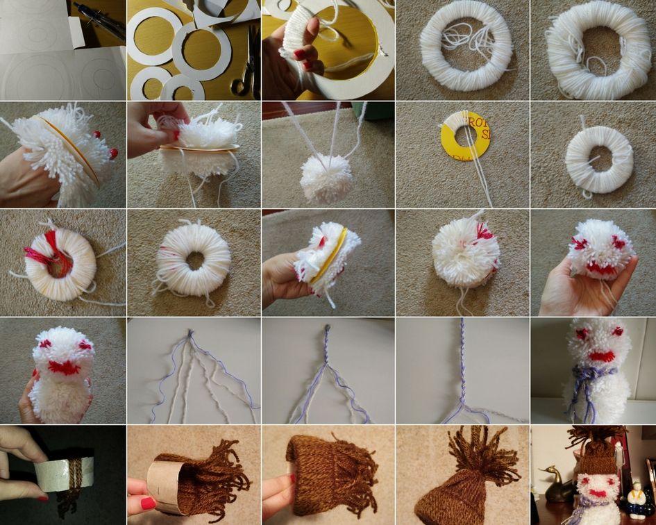 Muñeco de nieve con pompones #DIY #manualidades #navidad #pompones