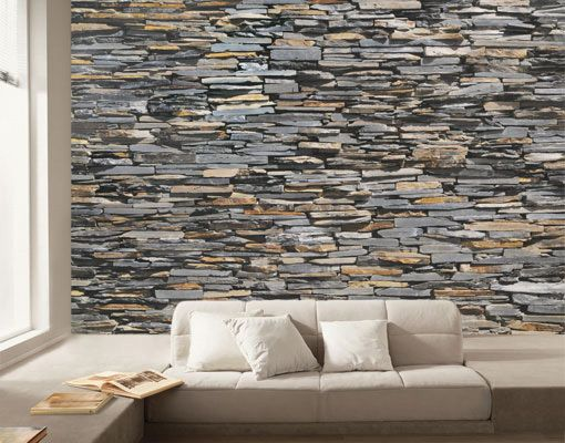 photo wall mural graphite stonewall 400x280 wallpaper wall. Black Bedroom Furniture Sets. Home Design Ideas