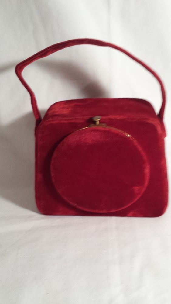 5a24e864fd78 Vintage Ladies Purse Handbag Mkd. Lin Bren USA Pat. 1947 Red Velvet  w Compact  LinBren  Box