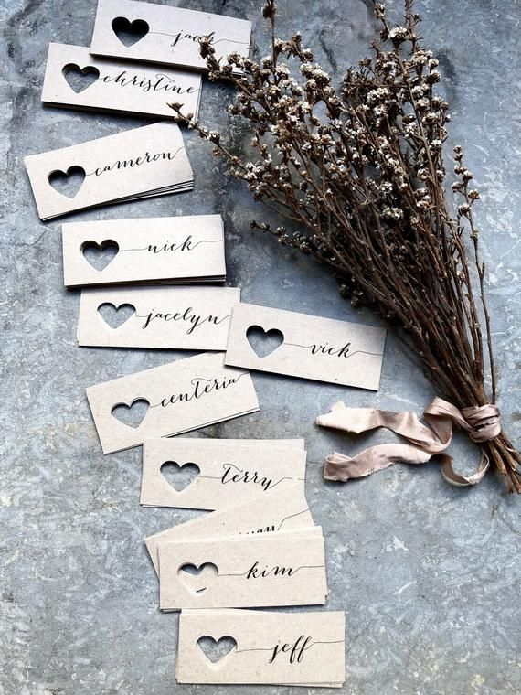 Wedding Place Cards, Place Cards, Name Tags, Wedding Name Tags, Heart Name Tags, Heart Place Cards, Kraft Place Cards, Rustic Wedding Tags