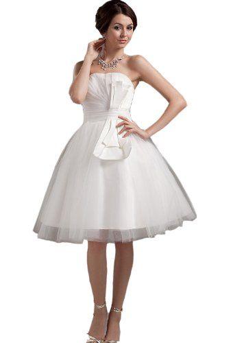 Strapless Elegant Layered Short Bridal Gown Wedding Dresses(16,White ...