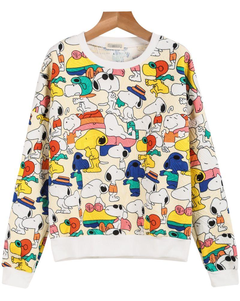 White Long Sleeve Snoopy Print Sweatshirt Sheinside Com Roupas Fofas Roupas Tumblr Moletons [ 1002 x 800 Pixel ]