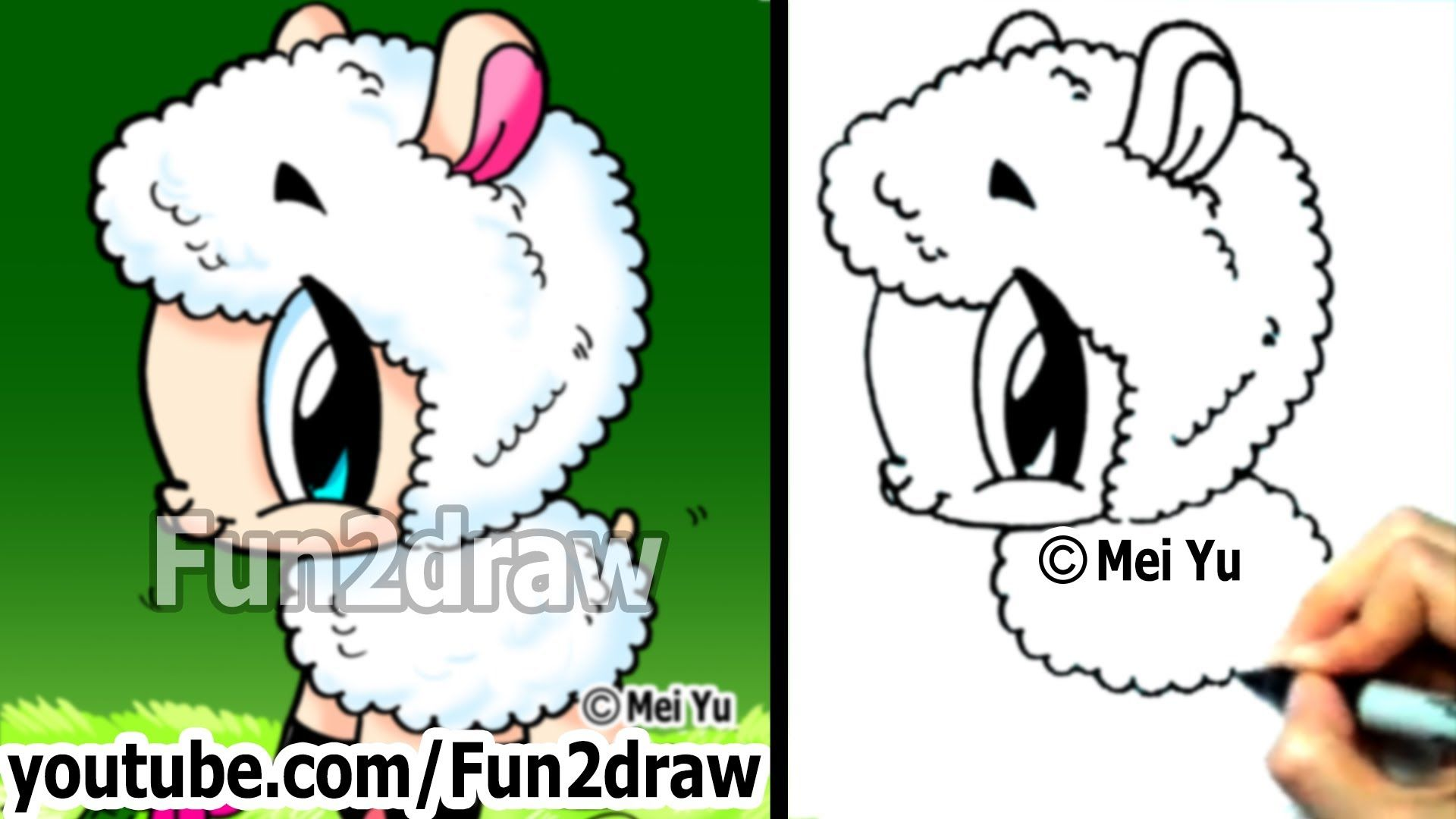 Mei Yu  Fun2draw  How To Draw Cute Animals  Cartoon Sheep  Easy Draw