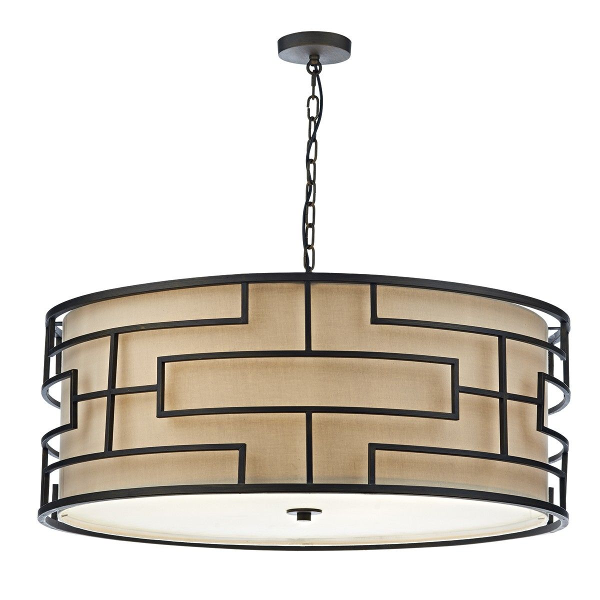 Tum0663 Tumola 6 Light Pendant In Bronze Matt Finish Supplied With Taupe
