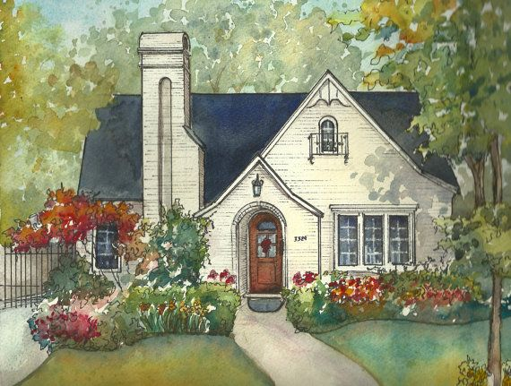 House Painting In Watercolor With Ink Details Custom Portrait Of