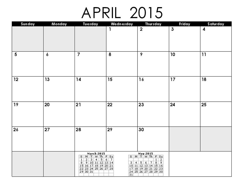 Check out April 2015 Calendar Printable Pdf, Excel, Word, Template ...