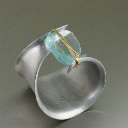 Blue Quartz crystal and brushed aluminum anticlastic bangle cuff