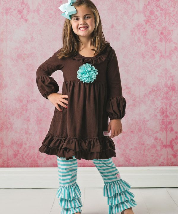 Look at this Brown & Blue Ruffle Dress Set - Infant, Toddler & Girls on #zulily today!