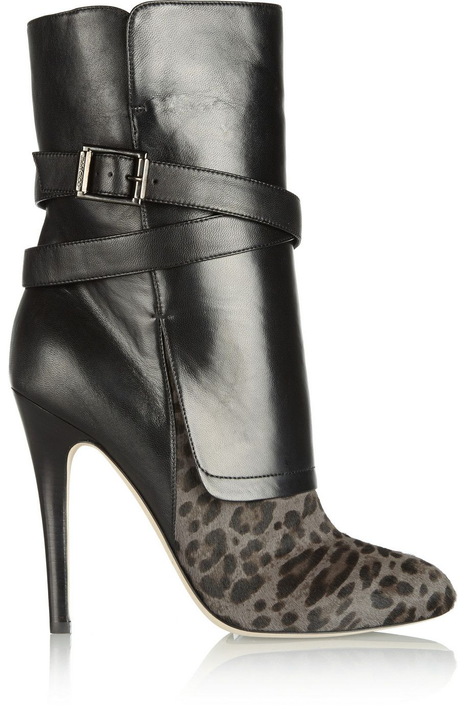 0539a915c2c2 JIMMY CHOO Leopard-print calf hair and nappa leather ankle boots ...