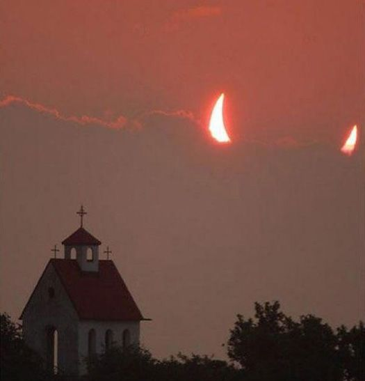 Image result for perfectly timed photos...eclipse over church