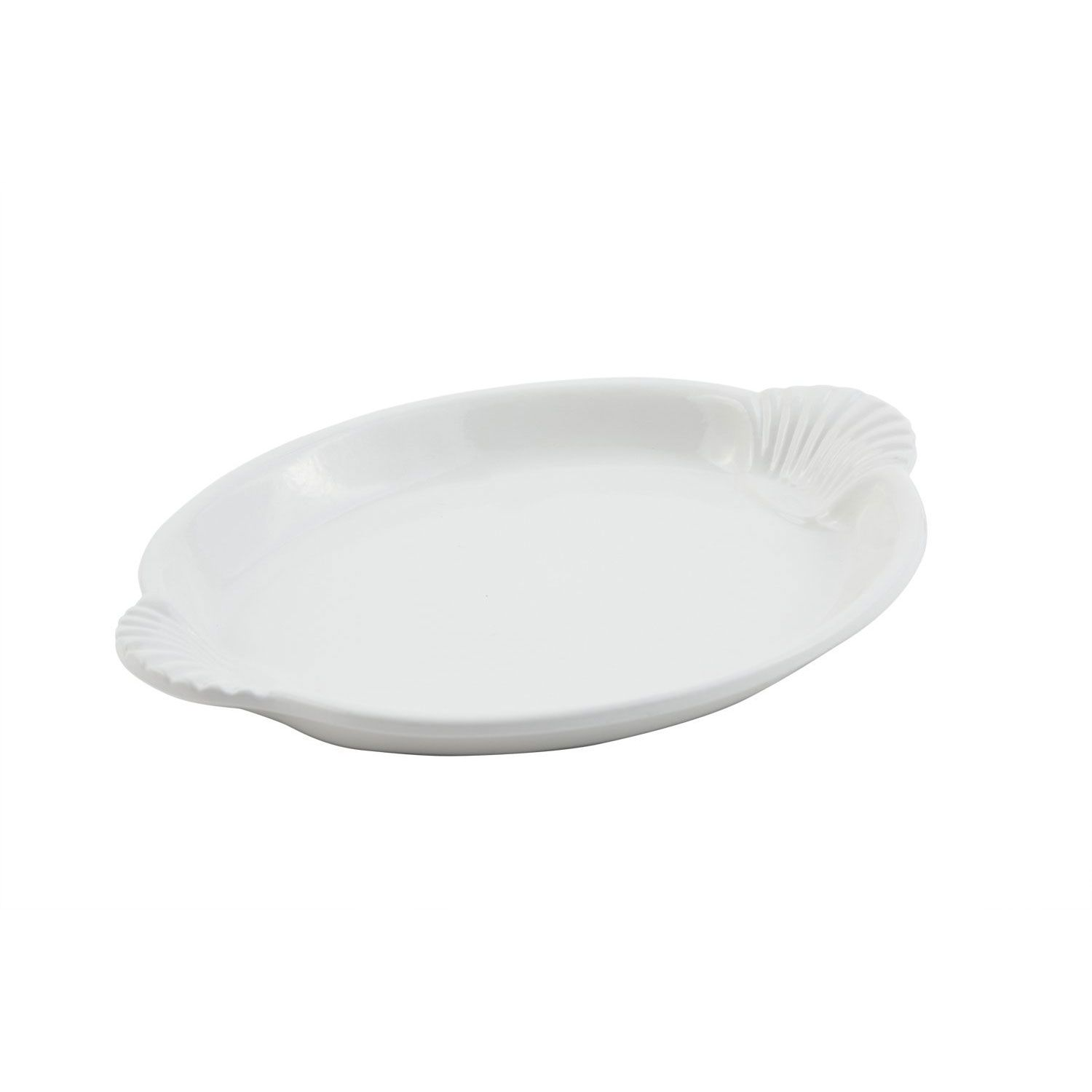 18 x 24 3/4 inch Shell Platter with 4 Brass Legs Sandstone White Tags:  Platters; Pewter Glo/Sandstone; Sandstone Platters;Sandstone White Platters;Sandstone Oblong Platters; https://www.ktsupply.com/products/32802337481/18-x-24-34-inch-Shell-Platter-with-4-Brass-Legs-Sandstone-White.html