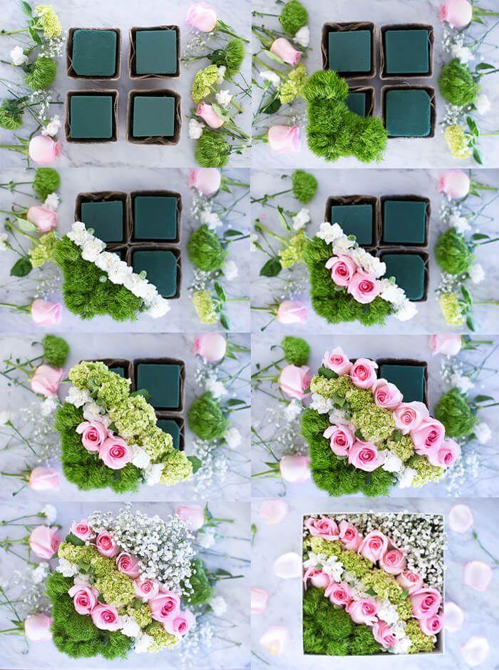 Красивые композиции из живых цветов в коробке своими ...