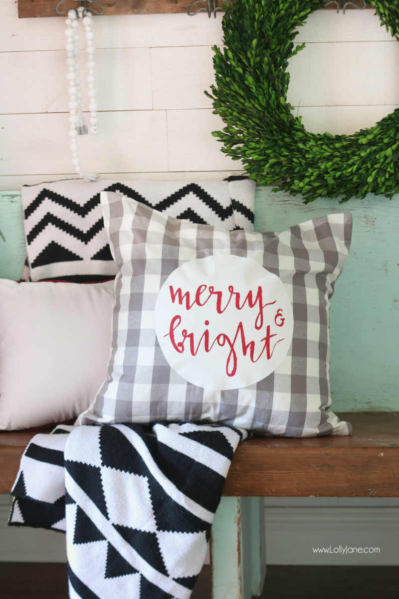 Merry U0026 Bright Christmas Pillow Cover Tutorial