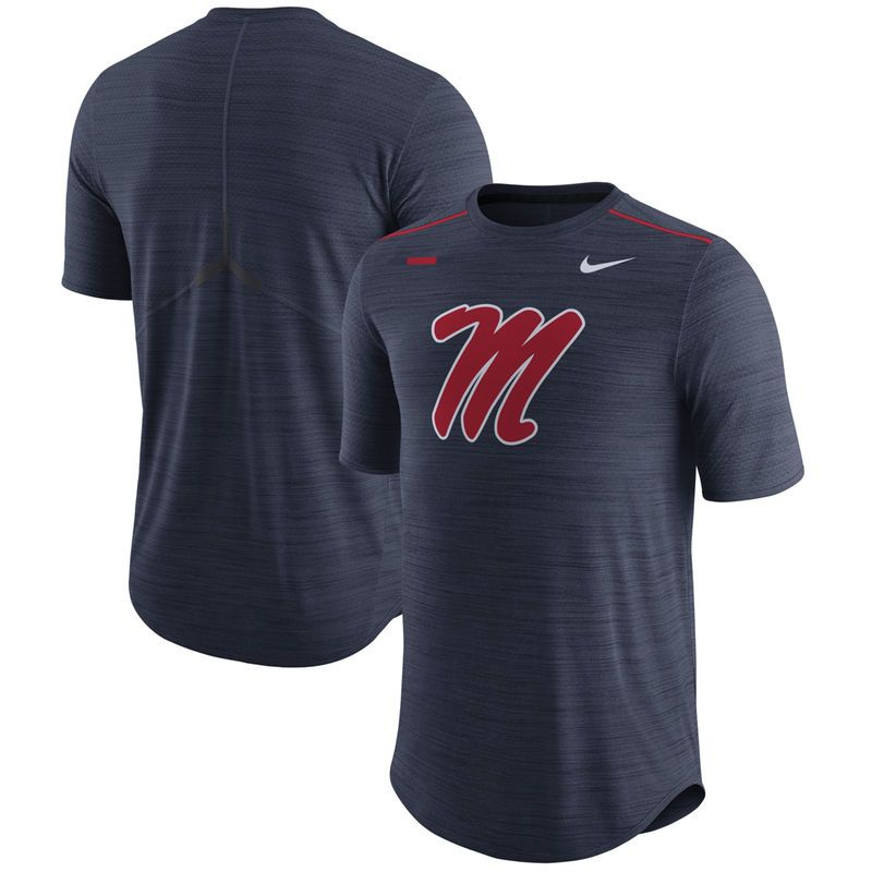 Ole Miss Rebels Nike 2017 Player Breathe Dri-FIT Top - Heather Navy
