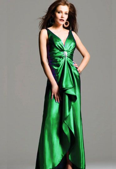 2012 Faviana Prom Dresses -Emerald Tank Style Satin Ruffle Gown - Unique Vintage - Prom dresses, retro dresses, retro swimsuits.