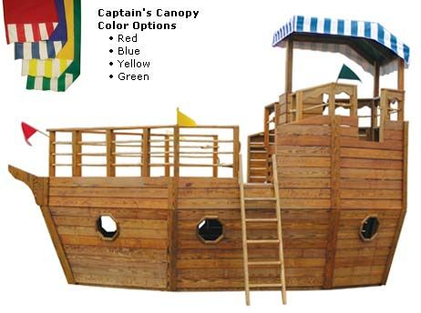 playhouse swing set plans | Youngster's Yacht | Backyard Pirate Ship Playhouse for Children