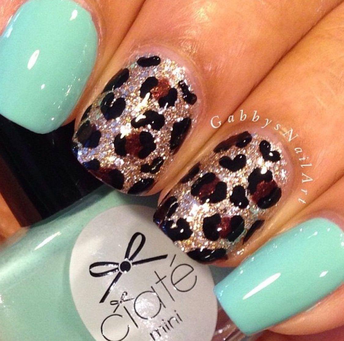 babyturquoise #leopard #love #nails #nailstoenvy | Nails | Pinterest