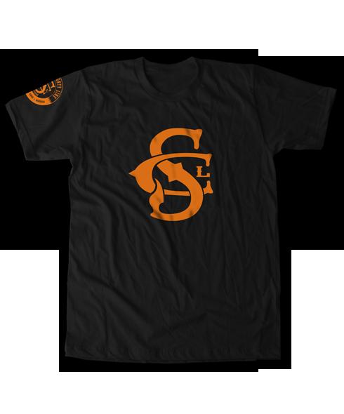 d02f6debcdb3 South County Line - Branded Logo Tee Orange Logo - Black Tee ...