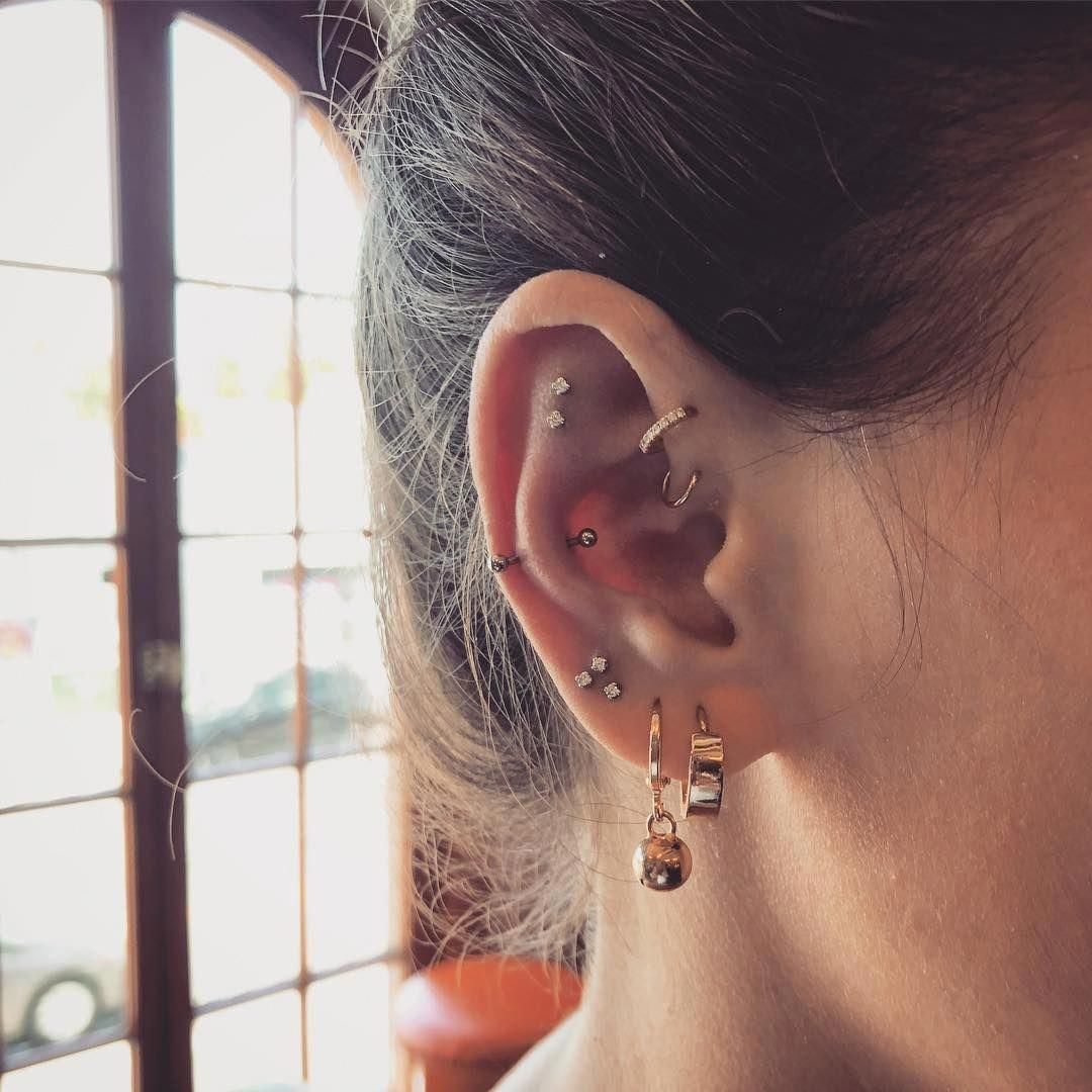 By Bkt Bodyelectrictattoo Briankeiththompson Constellationpiercing By Bkt Bodyelectrictattoo Briankeiththo Earings Piercings Ear Jewelry Bar Stud Earrings