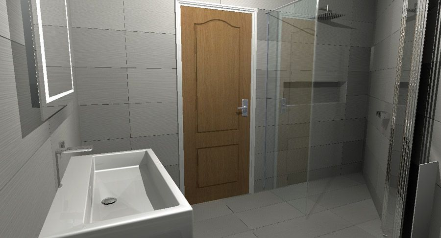 the final colour virtual bathroom design concept created for an awkwardly shaped triangular ensiute shower room - Virtual Bathroom Design