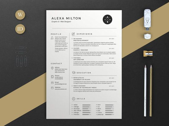 I N C L U D E S \/ \/ - 2 Pages Resume template in docx and Indd - resume template docx