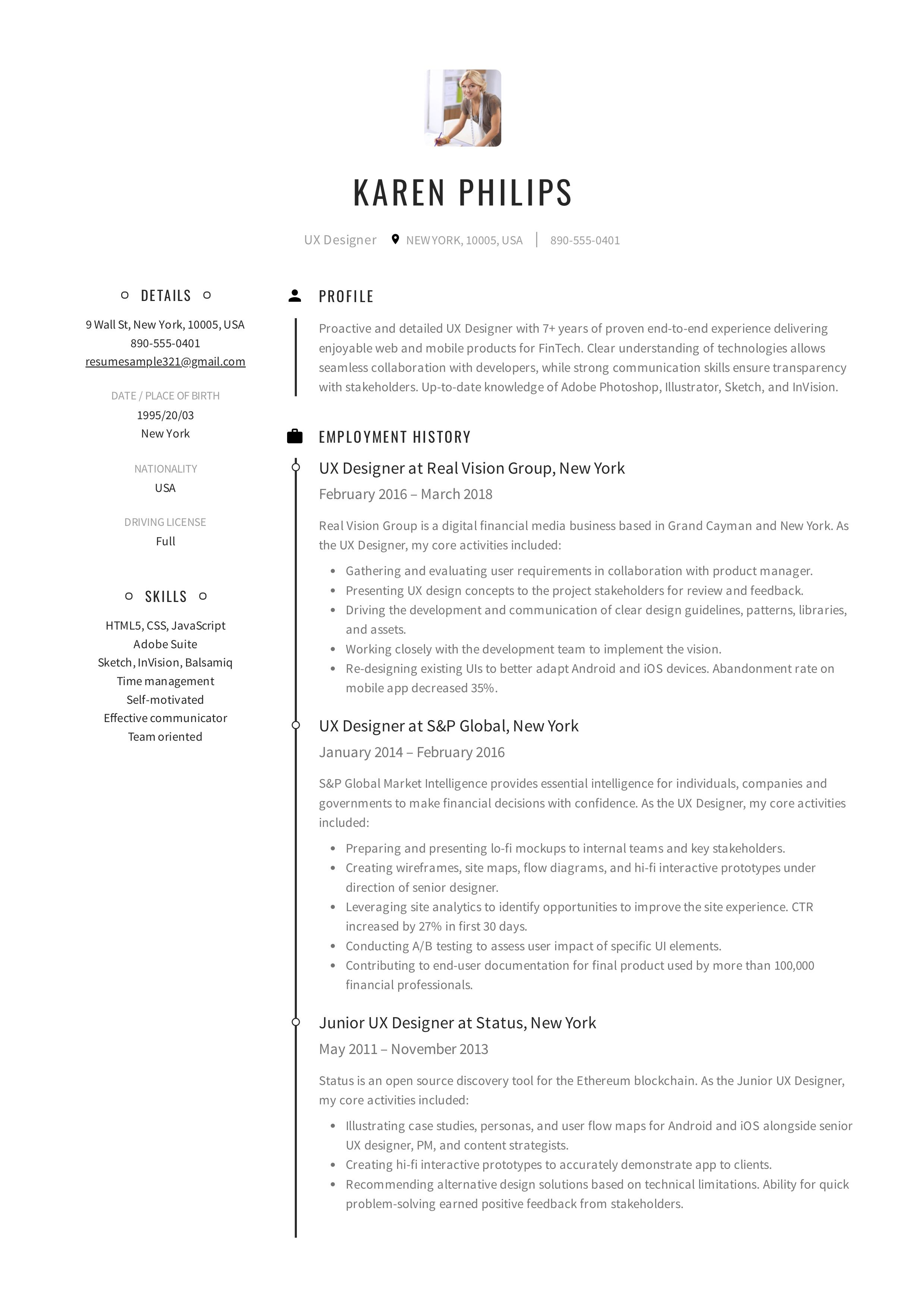 Ux Designer Resume Guide Resume Design Job Resume Template