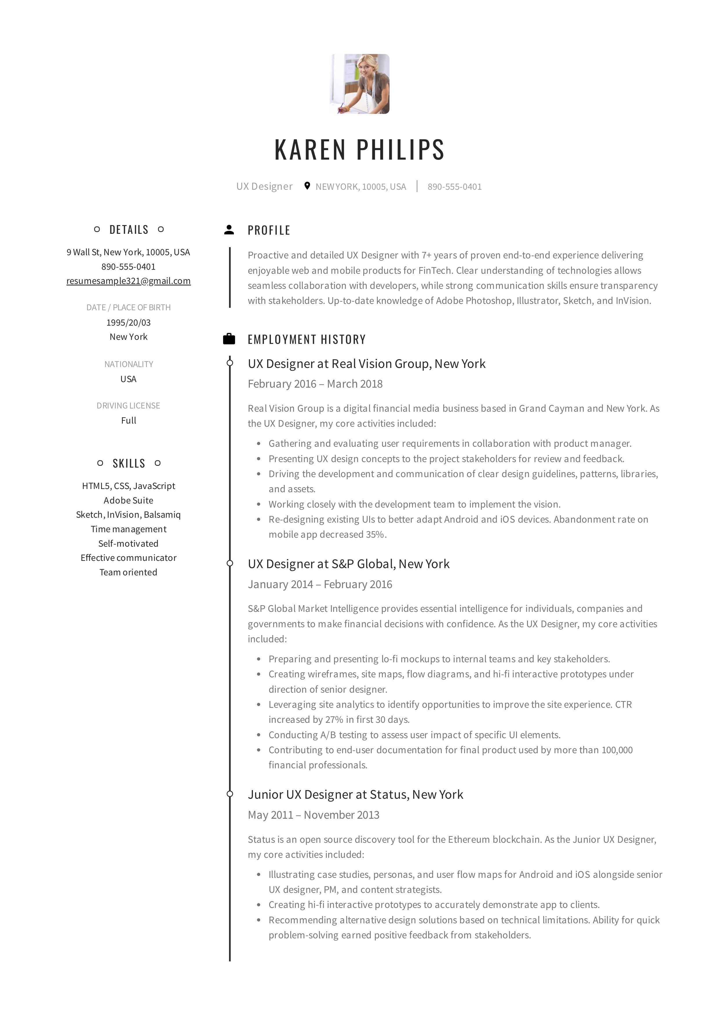 Ux Designer Resume Example Resume Design Job Resume Template Resume Template