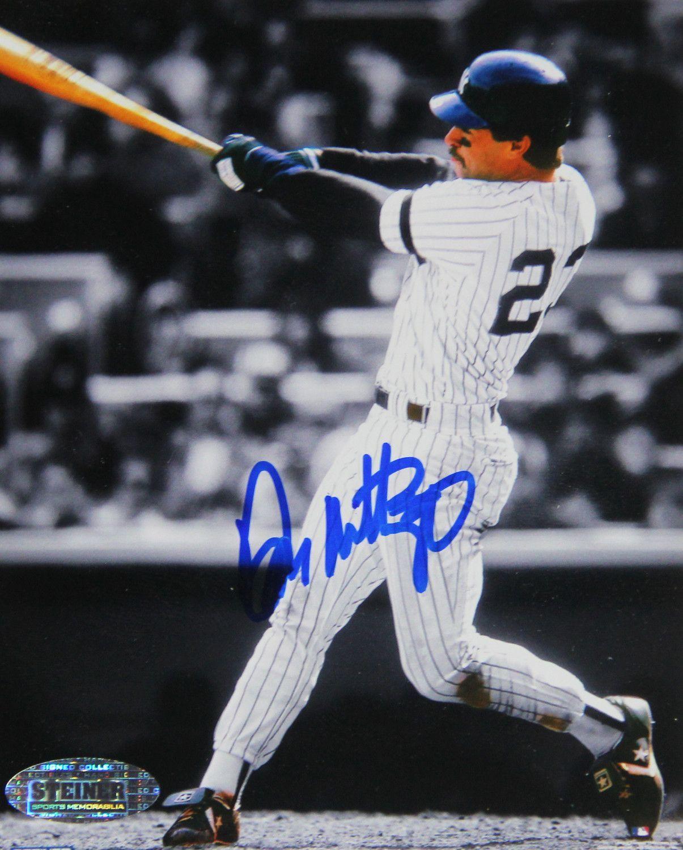 Don Mattingly Batting B/W Signed 4x5 Photo