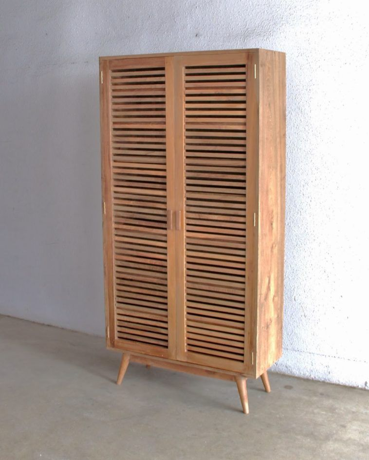 Tall Wood Shoes Cabinet With Shutter Doors And Mid Century Style Tapered  Legs