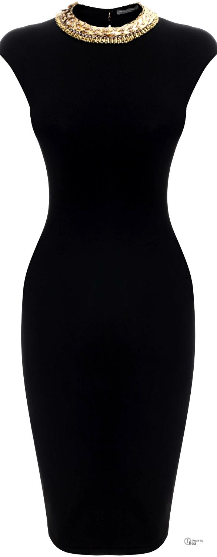 Alexander McQueen SS 2014, Embroidered Neckline Pencil Dress find more women fashion on misspool.com