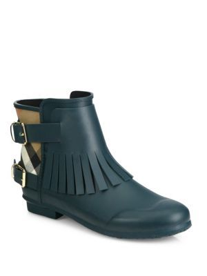 Burberry - Fritton Fringe Rubber & House Check Rain Boots