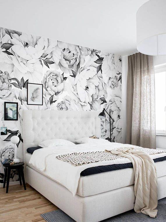 Peony Flower Mural Wallpaper Black And White Watercolor Etsy Master Bedroom Wallpaper Bedroom Design Floral Wallpaper Bedroom