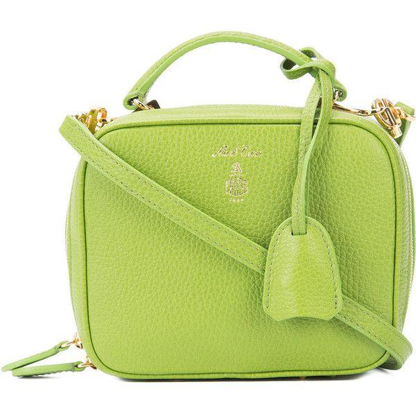 Mark Cross Green Baby 'Laura' Pebbled Bag (2,040 CAD) ❤ liked on Polyvore featuring bags, handbags, green, lock bag, logo bags, green handbags, green bag and kiss-lock handbags