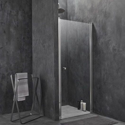 Porte de douche pivotante breuer flexa verre transparent - Leroy merlin porte en verre ...