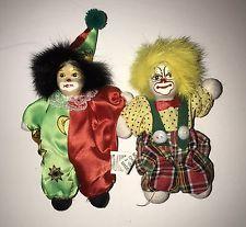 Vintage Porcelain Clown Bean Bag Doll Set   clowns   Porcelain