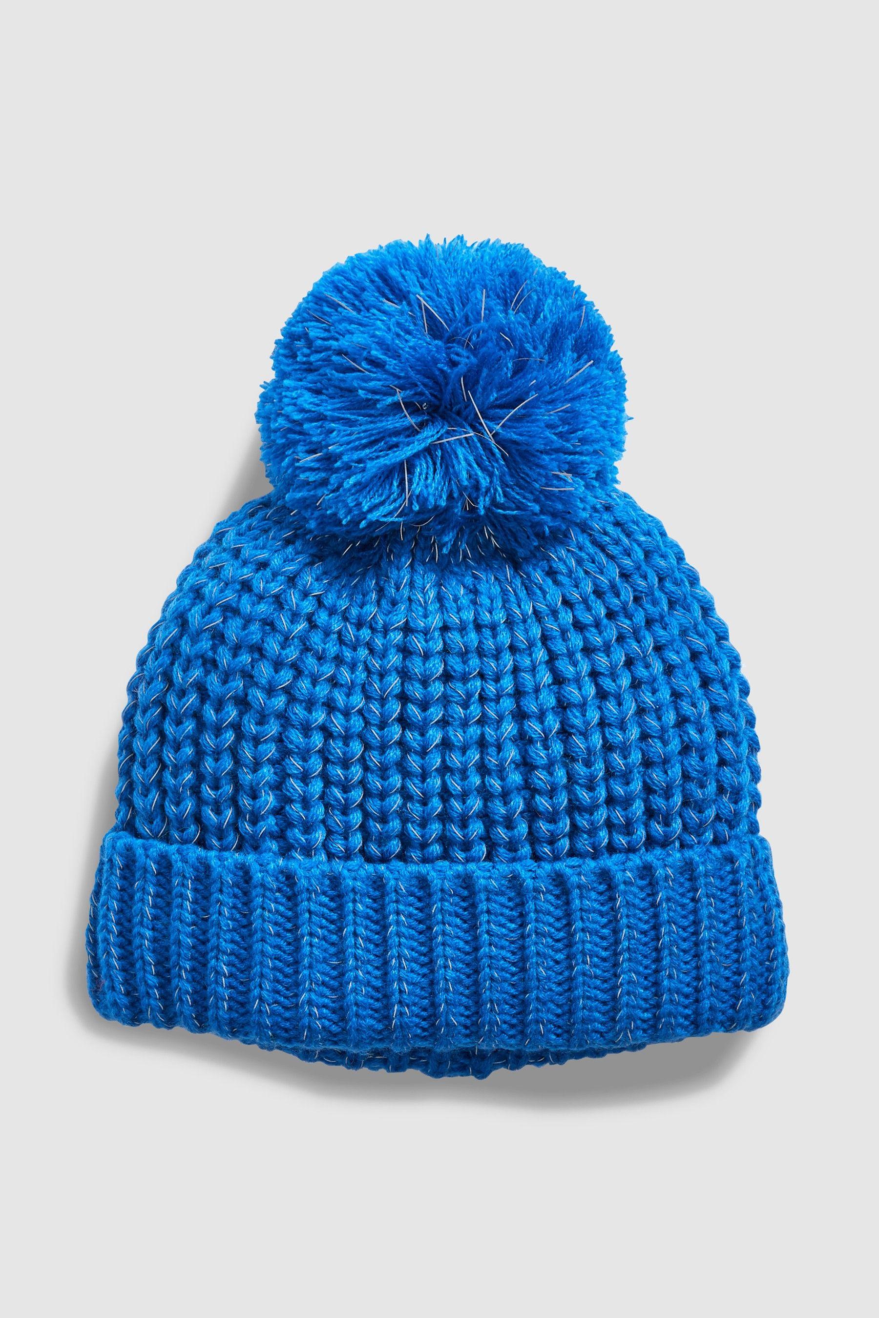 27060c9a200 Boys Next Blue Reflective Pom Beanie (Older) - Blue