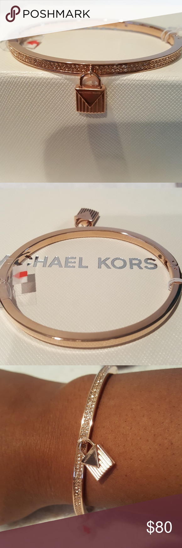 b8cb9ecd1a9 New Michael Kors Rose Stainless Steel Bracelet New...never worn Rose gold  tone stainless steel bracelet with pave pendant and glass