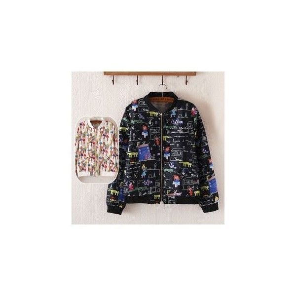 Printed Baseball Jacket ($32) ❤ liked on Polyvore featuring outerwear, jackets, women and black jacket