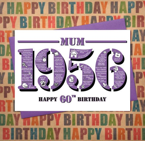 Happy 60th Birthday Mum Greetings Card Born In 1956 British Facts A5 Purple Birthday Cards For Son Birthday Greeting Cards Happy 70 Birthday