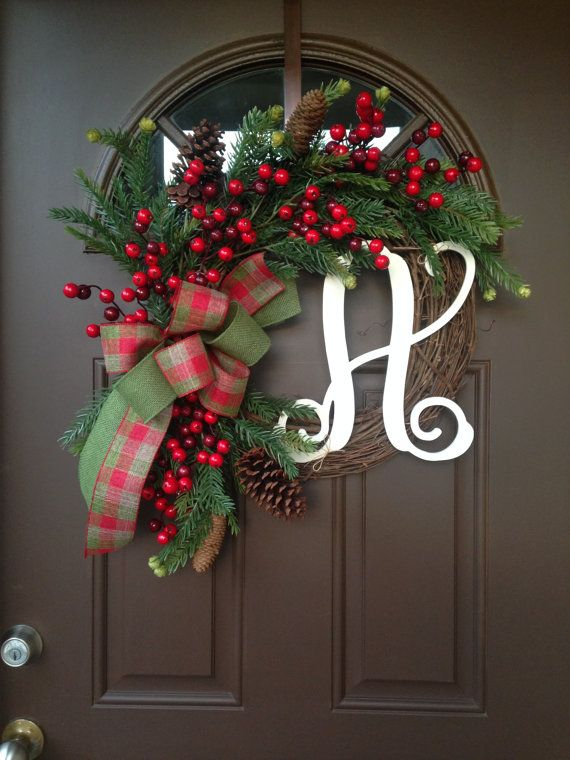 Christmas Grapevine Wreath With Initial   Holiday Berry Wreath With Burlap    Winter Front Door Wreath With Monogram   Rustic Christmas Decor |  Pinterest ...